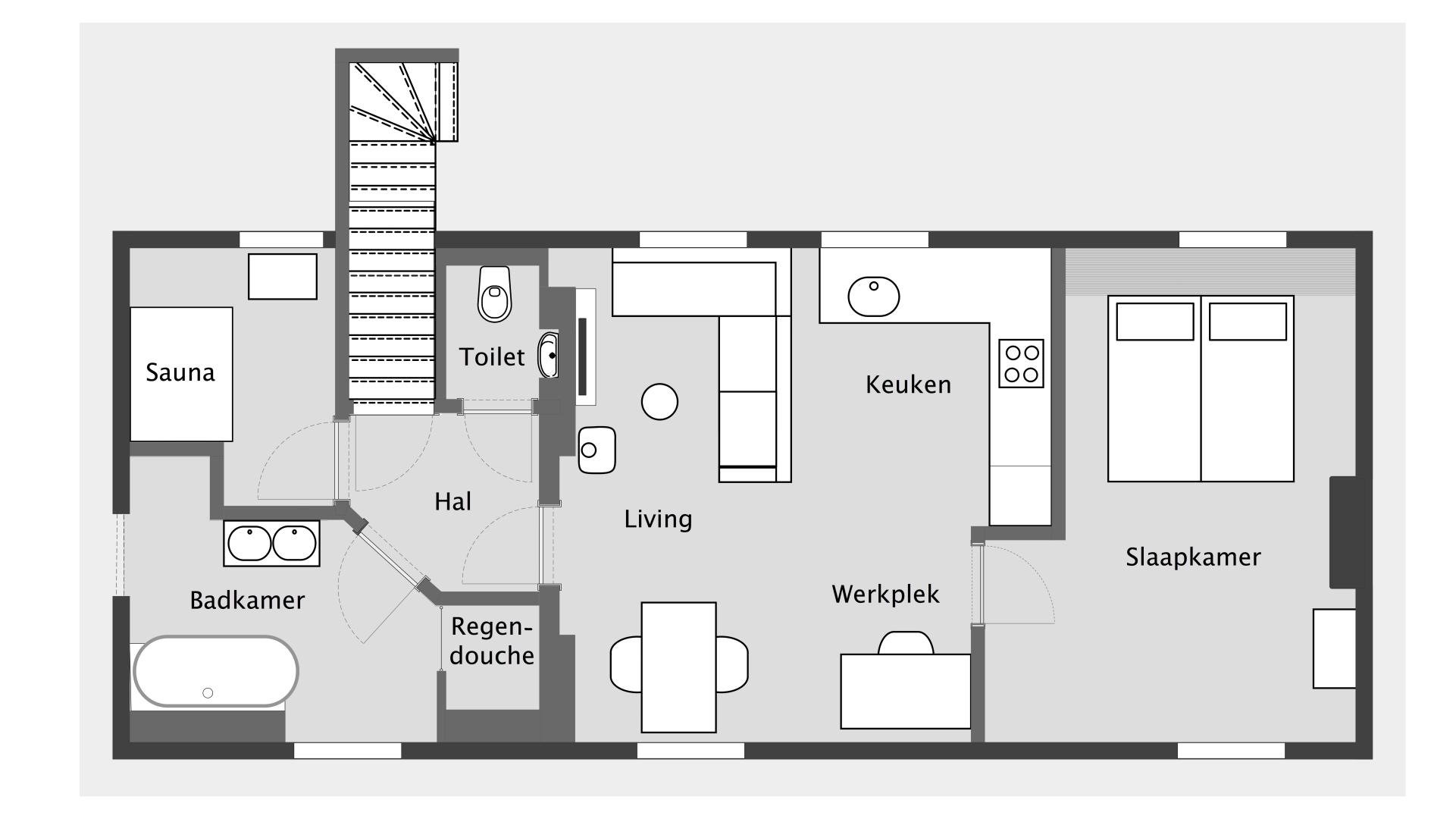 Gedurende uw verblijf heeft u de exclusieve beschikking over de volledige gasten suite.